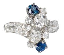 Diamond Sapphire Crossover Ring