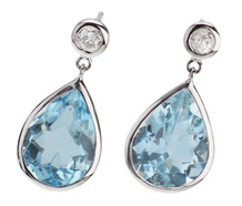 Blue Raindrops - Aquamarine Diamond Earrings