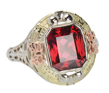Ribbons & Bows - Filigree Garnet Ring