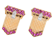 Buckle Up in Rubies - Retro Earrings
