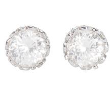 Fancy Free - Zircon & Diamond Stud Earrings