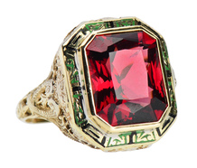 The Fire Within - Garnet Art Deco Ring