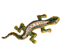 Edwardian Pearl Set Salamander Brooch