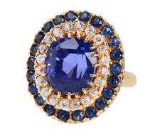Three Tiers of Glamour - Diamond Sapphire Ring