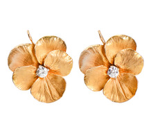 Gold Diamond Pansy Earrings
