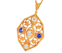 Entwined - Diamond Sapphire Pendant & Chain