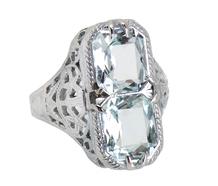 Aquamarine Aloft - Art Deco Ring