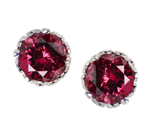 Garnet Diamond Stud Earrings