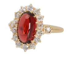 Garnet Ingénue - Antique Diamond Gemstone Ring
