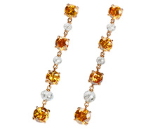 Orange Fire - Diamond Drop Earrings