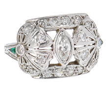 Edwardian Petals - Diamond Emerald Ring