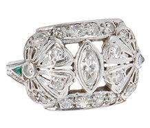 Edwardian Petals - Diamond Emerald Ring