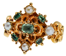 Romance in a Victorian Emerald Pearl Ring