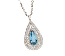 Aquamarine Diamond Pendant Necklace