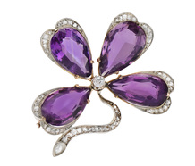 Lucky Day - Amethyst Four Leaf Clover Brooch