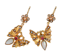 Butterflies Alight - Gold Pearl Earrings