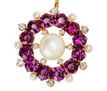 Edwardian Garnet Pearl Pendant