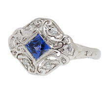 Evocative Art Deco Sapphire Diamond Ring