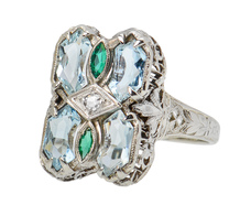 Unique Vintage Aquamarine Filigree Ring
