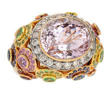Aswirl Zorab Signed Kunzite Bejeweled Ring