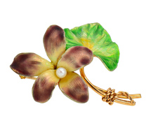 Krementz Rules - Enamel Flower Brooch