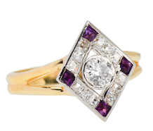 Art Deco French Cut Diamond Amethyst Ring