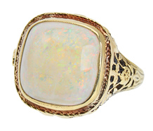 Golden Garden - Vintage White Opal Ring