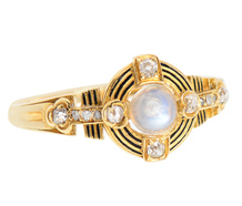 Blue Moonstone Diamond Antique Ring