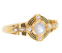 Blue Moonstone Diamond Antique Ring
