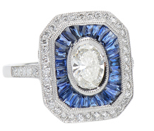 Radiance - Sapphire Oval Diamond Platinum Ring
