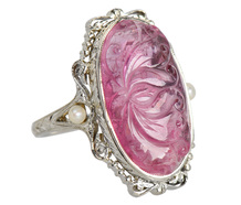 The Lotus - Pink Tourmaline & Pearl Ring