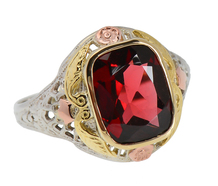 Three Shades of Gold Garnet Filigree Ring