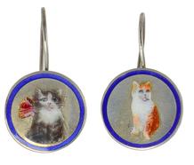 Feline Fancy - Cat Enamel Silver Earrings