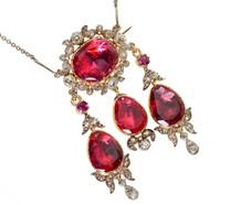 Victorian Topaz Diamond Pendant Brooch