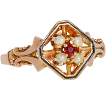 Victorian Sensibility - Pearl Garnet Ring