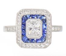 Radiant Cut Diamond Sapphire Ring