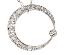 Waxing Moon - Diamond Crescent Necklace