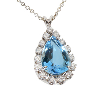 Diamond Aquamarine Pendant & Chain