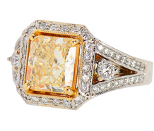 Fancy Yellow 2.6 ct Radiant Cut Diamond Ring