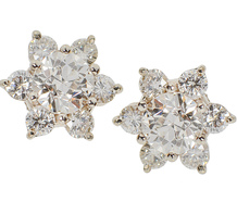 Twinkling Night - Diamond Star Cluster Earrings