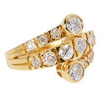 Fiery Diamond Vintage Crossover Ring