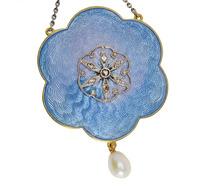 Antique Edwardian Blue Enamel Pendant