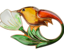 David Andersen Hummingbird Enamel Brooch