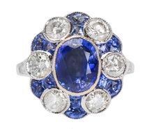 The Ritz - Diamond Sapphire Platinum Ring