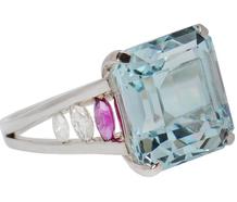 South Seas - Aquamarine Diamond Ruby Ring