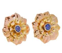 Vintage Organic Sapphire Flower Blossom Earrings