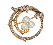Ocean's Wave - Antique Pearl Diamond Brooch