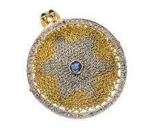 A Marvel - Diamond Sapphire Mesh Gold Pendant