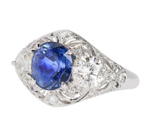 Blue Muse & Butterflies - Diamond Sapphire Ring