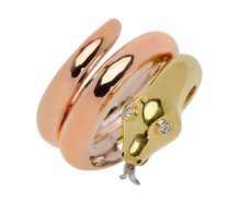 Three Color Gold Diamond Snake Ring